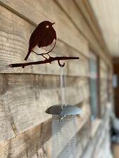 METAL SILHOUETTE BIRD FEEDER HANGERS SCREW IN METAL BIRD ROBIN