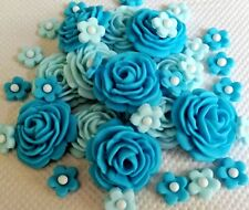 32 SHADES OF ICE BLUE EDIBLE ROSES, FLOWERS  Cupcake Cake topper Weddings