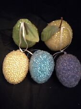 Lot of 5 Beaded Easter Pears Apples Plumbs Artificial Fruit Ornament Life Size