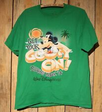 Large Mickey Mouse Get Your Goofy On Spring Break Green Tee Shirt Disney 2014 +