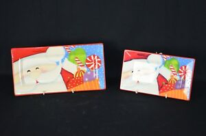 Christmas Themed Rectangular Serving Plates, Set of Two