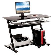 Computer Desk PC Table Office Furniture Black Glass Shelving Sliding Shelf Home