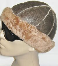NEW! Sheepskin Winter Round Soft Warm Hat Unisex Real Leather Shearling Lambskin