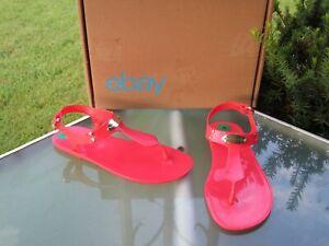 Michael Kors Womens size 8 Sangria Orange MK Plate Jelly Thong Sandals NEW
