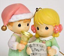 Precious Moments Christmas ornament children singing carols bell boy girl kids