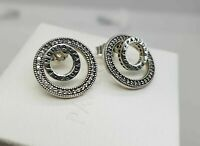 New Authentic Forever PANDORA Signature Stud Earrings #297446CZ w/pouch