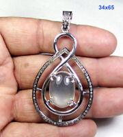 11.85 CT Moonstone Pave Diamond 925 Sterling Silver Gemstone Jewelry Pendant