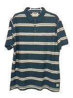 Linksoul Mens L Blue Gray Stripe Short Sleeve Golf Polo Shirt Tempus Fugit