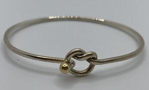Tiffany & Co 18KT Gold & Sterling Silver Love Knot Hook Bangle Bracelet
