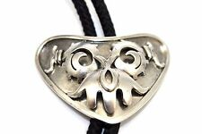 SIGNED Vtg TAXCO Modernist MIGUEL Sterling Silver TRIBAL FACE Bolo Tie VERY RARE