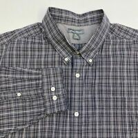 Eddie Bauer Button Up Shirt Men's Size 2XL XXL Long Sleeve Gray White Plaid
