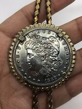 1882 Morgan Silver Dollar Coin Bolo Tie Gold Tone Setting Two Toned Leather Cord