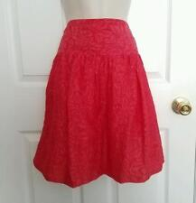 NWOT BCBGMAXAZRIA Red Floral Textured Lined A-Line Skirt, Women's Size 4