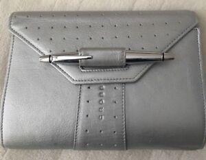 Cross Genuine Leather Silver-Tone Notebook Including Cross Pen
