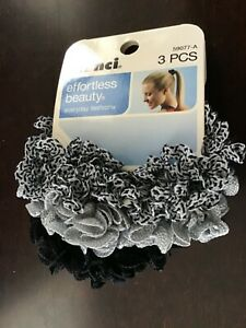 Scunci Effortless Beauty Ruffle Knits Scrunchies, 3 pcs assorted colors pack