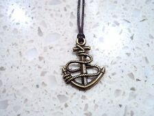 New Antiqued Bronze Nautical Anchor Pendant Charm Necklace in Brown Cord