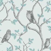 Papier Peint Bois Hiboux - Sarcelle & Argent - Fd40638 Décor Raffiné Chambre