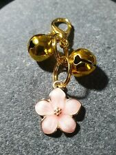 Pet Collar Tag, Pink Enamel Flower and Jingling Bells for Smaller Dog, or Cat
