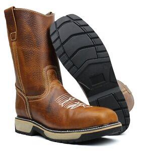 Men's Genuine Leather Cowboy Steel Toe Work Boots Oil Resistant Botas de Trabajo