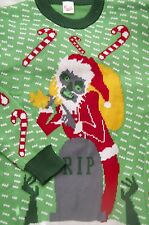 UGLY CHRISTMAS SWEATER EVIL MONKEY SANTA GRAVE RIP CANDY CANES XMAS SZ L LARGE