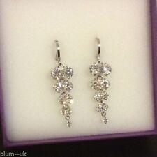 Diamond Round White Gold Filled Costume Earrings