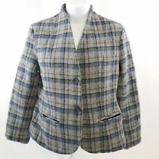 Vtg She Ltd Womens Blazer Size 12 Wool Plaid Lined 2 Button Pockets Multi Color