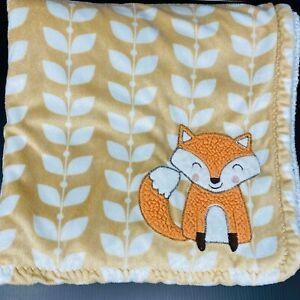 Carters Orange Fox Baby Blanket Brown Tan Sherpa White Leaves Security Lovey