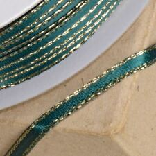 GREEN & GOLD SATIN LUREX RIBBON 3mm x 25 METERS FULL REEL CRAFT WEDDING XMAS