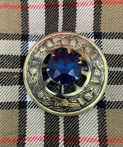Kilt Fly Plaid Brooch Thistle Design Blue Stone Highland Kilt Antique Brooches