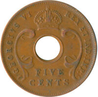 COIN / EAST AFRICA / 5 CENT GEORGE VI.  1937  #WT5498