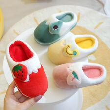 Kids Girls Boys Flat Fluffy Warm Comfy Non Slip Slippers Indoor Cute Warm Shoes