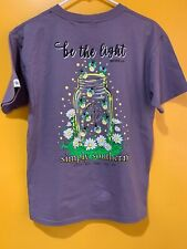 Simply Southern Women's Short Sleeve T Shirt Plum Size Small BE THE LIGHT