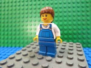 Lego Minifig: #CTY0137 Farm Hand, Female, Overalls Blue over V-Neck Shirt