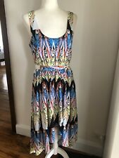 COOPER ST 12 White/Blue/Yellow High-Low Sleeveless Cocktail Dress Races EUC