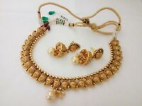Indian Fashion Jewelry New Necklace Earing bollywood ethnic Gold traditional set