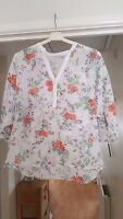 Marks & Spencer Pretty White Mix Top, Batwing Sleeves, Size 12, VGC