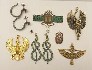 Job Lot of Vintage Egyptian Revival Jewellery - Scarab Pendants, Snake Earrings
