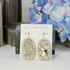 Kendra Scott Danielle Macrame Nude Mother of Pearl Gold Plated Earrings NWT