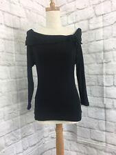 Jacqui-e Size S Black Off The Shoulder Long Sleeve Blouse