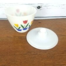 Fire King Tulip Grease Jar Lid Vintage Kitchen Bowl Dish Tulips