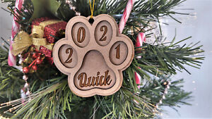 Personalised Dog Paw Christmas Decoration Custom Name Bauble Xmas Tree Ornament
