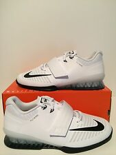 New Mens Nike Romaleos 3 Weightlifting Shoes White Black Volt Sz 11.5 852933 100
