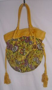Red by Marc Ecko Yellow Floral Canvas Handbag/Hobo/Purse
