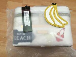 NEW & SEALED White RIVER ISLAND Beach Weekend Badge Make Up VANITY CASE Bag