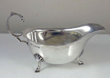 Antique  Solid Sterling Silver Sauce Gravy Boat - English Hallmarked 1938