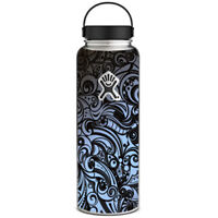 Skin Decal for Hydro Flask 40 oz Wide Mouth / Blue Grey Paisley Abstract