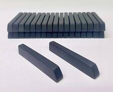 """Set/36 Plastic Piano Sharps, 3 1/2"""" Long, Dull/Satin Black, Keytop & Pvc-E Glue"""