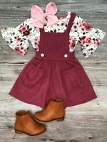 Girls, Toddler Spring Outfit Burgundy Corduroy Jumper Dress Set 2T 3T 4T 5 6 7 8