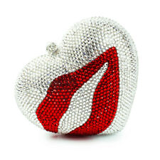 Handmade Austria Crystal Heart Bridal Cocktail Evening Bag Red Mouth Clutch