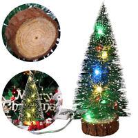 Tabletop Christmas Pine Xmas Mini Snow Trees Decoration Gift Display LED Light U